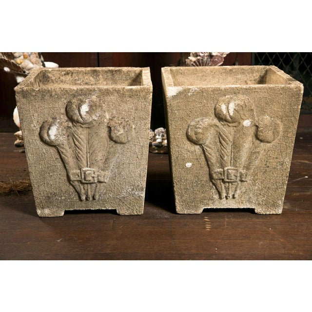 Stone 1930s Vintage Prince of Wales Plume Planters- a Pair For Sale - Image 7 of 8