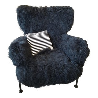Franco Albini Cassina Black Tre Pezzi Wool Armchair For Sale