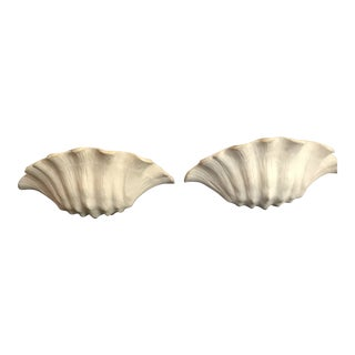 1930's Frances Elkins Shell Form Plaster Wall Scones - a Pair For Sale