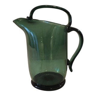 Vintage Emerald Green Art Glass Pitcher For Sale
