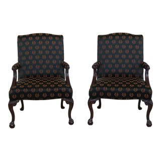 Ball & Claw Chippendale Style Mahogany Library Chairs - a Pair For Sale