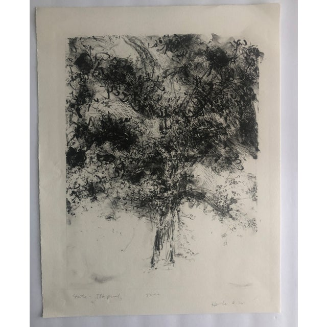 1970s 1978 Abstract Tree Lithograph by Dellas Henke For Sale - Image 5 of 6
