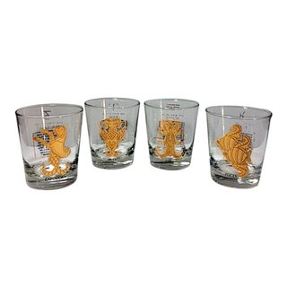 1960s Vintage Anchor Hocking Zodiac 22k Gold Double Rocks Glasses - Set of 4 For Sale
