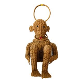 Mario Lopez Torres Style Mid Century Wicker Straw Monkey Box Basket For Sale