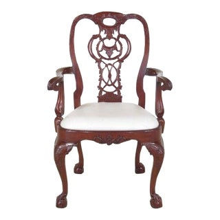 Georgian Style Carved Mahogany Arm Chair For Sale