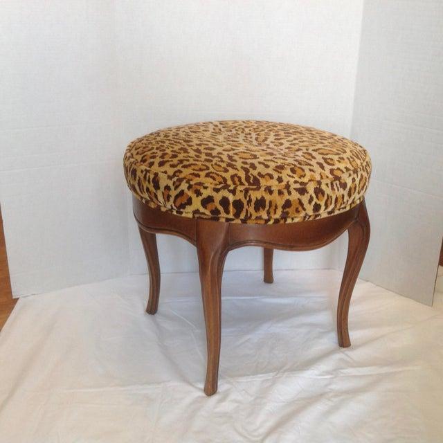 Vintage Italian Leopard Upholstered Vanity Stool For Sale - Image 4 of 13
