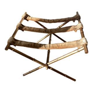Faux Bamboo Gold Gilt Folding Luggage Rack For Sale
