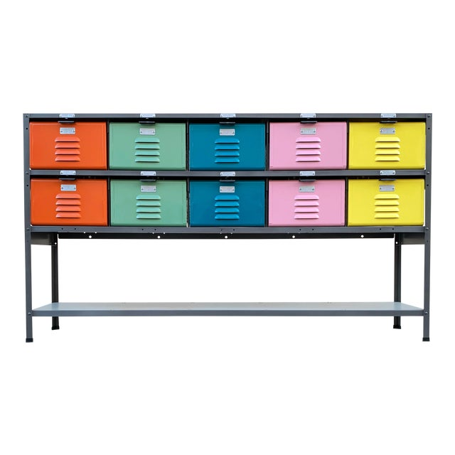 Custom Made 5 X 2 Locker Basket Unit With Multicolored Drawers and Shelf For Sale
