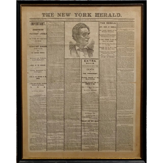 """Lincoln Assassination -The New York Herald 15 April 1865 -Front page. Paper under glass and framed. frame size 19 x 25""""..."""