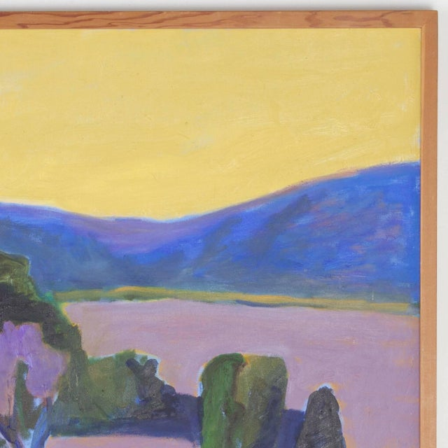 Mid-Century Modern Mid-Century Landscape Painting on Canvas by Sally Turner For Sale - Image 3 of 9