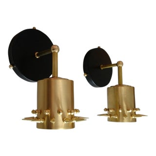 Brass Studded Sconces - A Pair