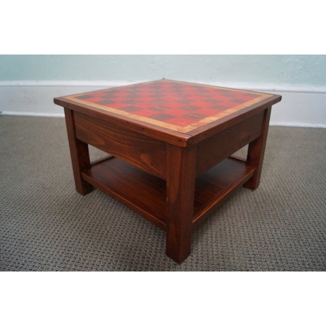 Solid Pine Primitive Checkerboard Top Side Table - Image 8 of 10