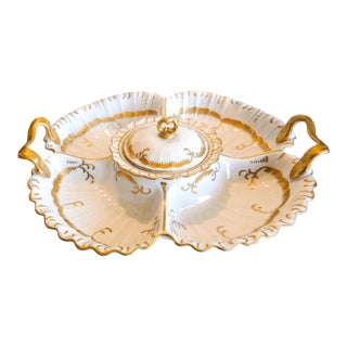 Antique Porcelain Five-Compartment Serving Platter For Sale