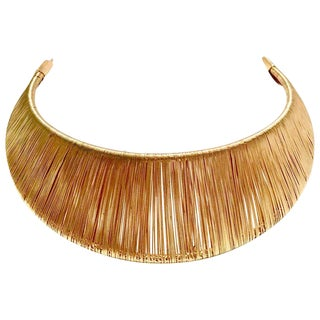 80's Modernist Gold Woven Wire Collar Choker Style Necklace For Sale
