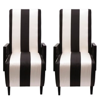Highback Dining Chairs in Black & White Striped Silk - Pair For Sale