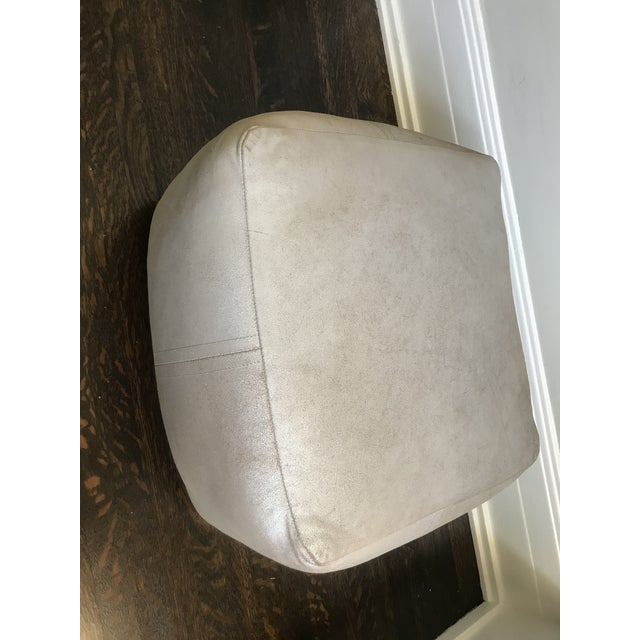 Very rare leather pouf/footstool made by the clothing Christine Kim and her Los Angeles based clothing company Dosa....