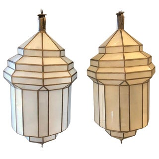 Pair of Large Milk Glass Octagonal Pendants/ Lanterns or Ceiling Fixtures For Sale