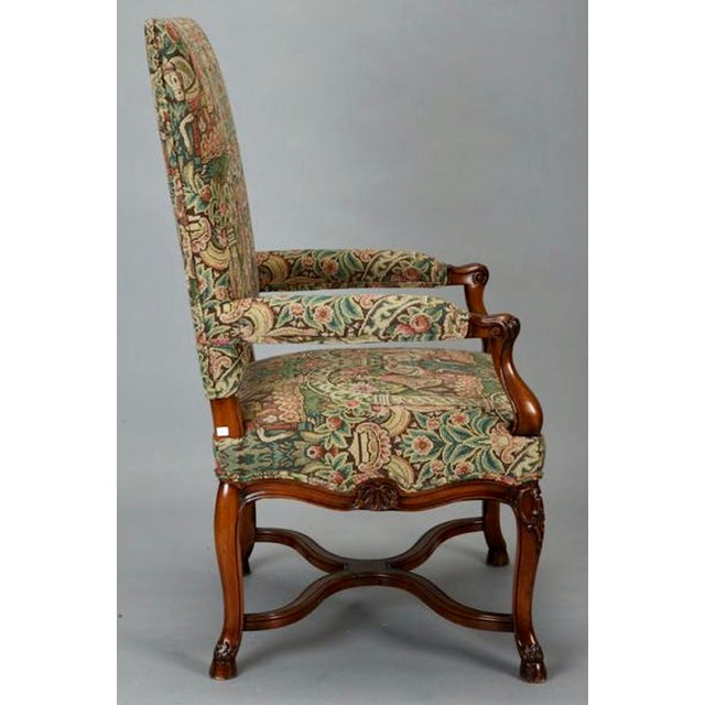 French Provincial 19th Century French Louis XIV Armchair Covered In Old World Style Tapestry Fabric For Sale - Image 3 of 8