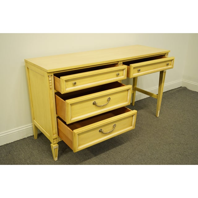 20th Century French Provincial Basic Witz Furniture Painted Cream Writing Desk For Sale - Image 12 of 13