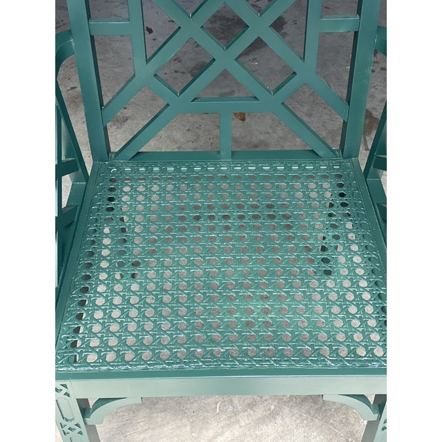 Vintage Green Fretwork and Cane Arm Chair For Sale - Image 4 of 7