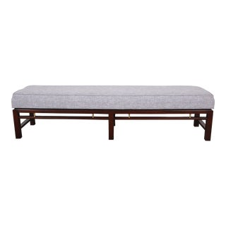 Edward Wormley for Dunbar Mahogany and Brass Upholstered Bench, Newly Restored For Sale