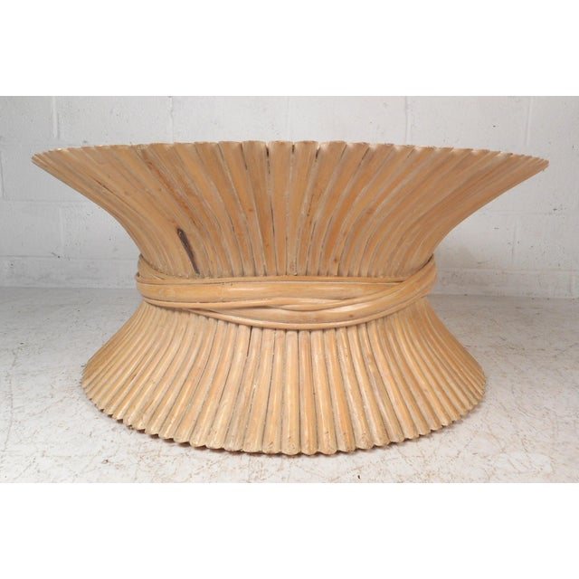 Mid-Century Modern Vintage Modern McGuire Bamboo Wheat Sheaf Coffee Table For Sale - Image 3 of 11