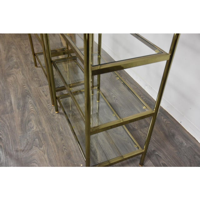 Hollywood Regency Style Brass Etageres- a Pair For Sale - Image 10 of 11