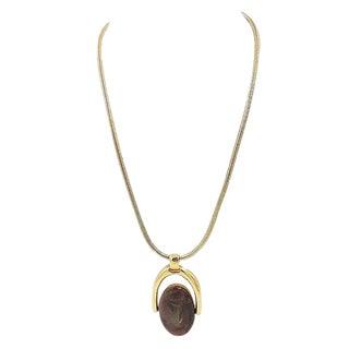 1970s Trifari Reversible Enamel Pendant Necklace For Sale