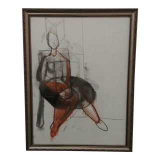 Modernist Abstract Original Charcoal For Sale