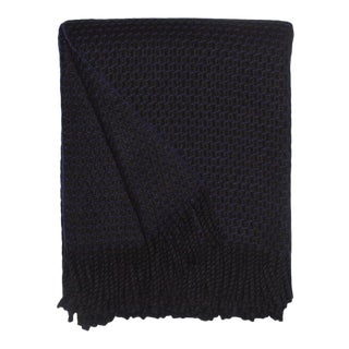 Clyde Honecomb Cashmere Throw, Black For Sale