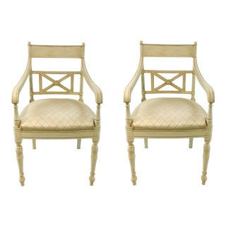 Hickory Chair Vintage Transitional Cream Arm Chairs Pair For Sale