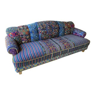 Hand Embroidered and Needlepoint Couch For Sale
