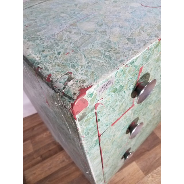 Metal Simmons 3-Drawer Steel Green Granite Chest Of Drawers For Sale - Image 7 of 11