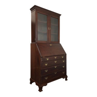 Craftique Solid Mahogany Chippendale Slant Front Secretary Desk W Bookcase For Sale