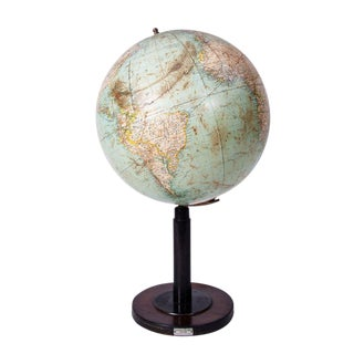 Early 20th Century Vintage Italian Tall Globe on Black Wood Stand For Sale