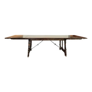 1927-1932 Carved Spanish Revival Monterey Style Large Dining Table With Four Leaves For Sale