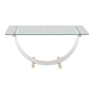 Art Deco U Shape Brass and Chrome Glass Console Table For Sale