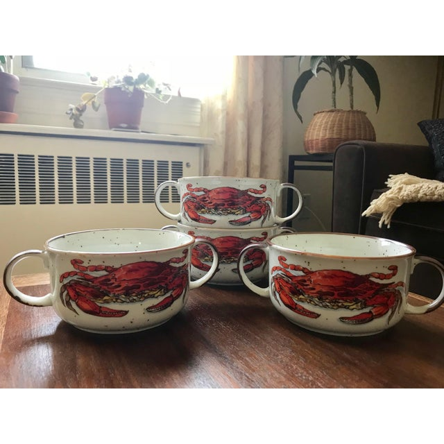 Beautiful and whimsical, hard-to-find double handle 16 oz soup/seafood/chowder/gumbo bowls with speckled background,...