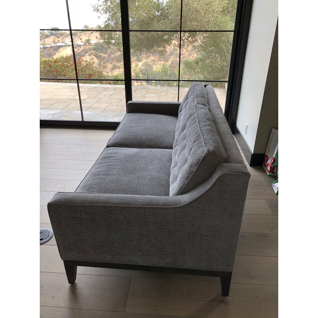 Contemporary Modern Gray Upholstered Sofa For Sale - Image 3 of 9