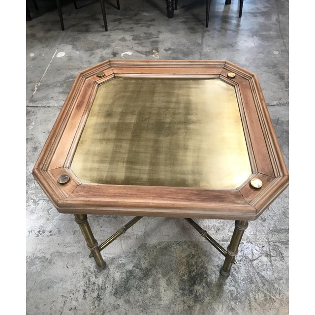 Italian Italian Coffee table or side table in brass and wood. For Sale - Image 3 of 6