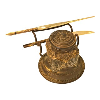 Antique Gold Plated Inkwell With Two Original Mother of Pearl Quills For Sale