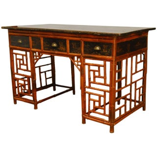 Chinese Lacquered Bamboo Chinoiserie Desk For Sale