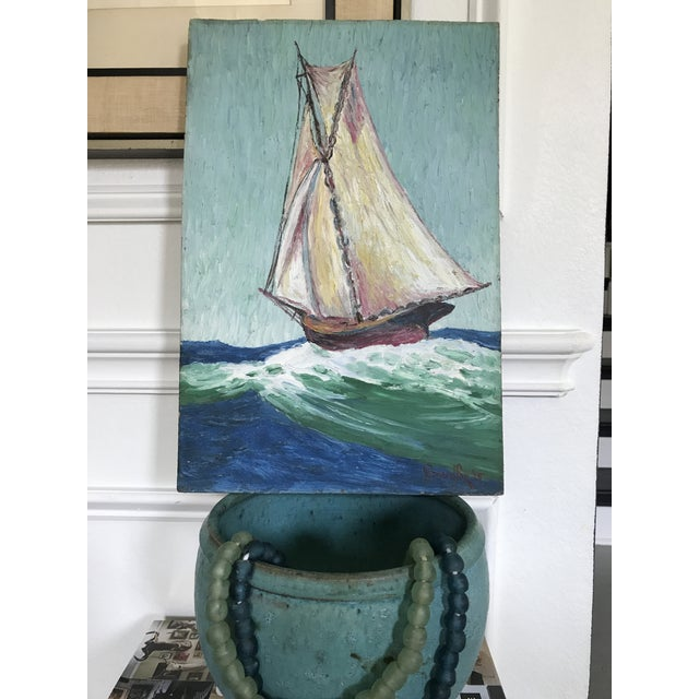 Nautical Howard Fox Vintage Sailboat Painting 1925 For Sale - Image 3 of 7