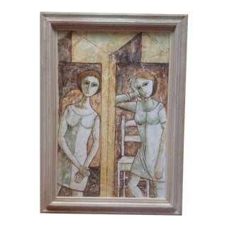 Mid Century Modern Painting by Rossini For Sale