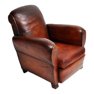 1940s French Art Deco Leather Armchair For Sale
