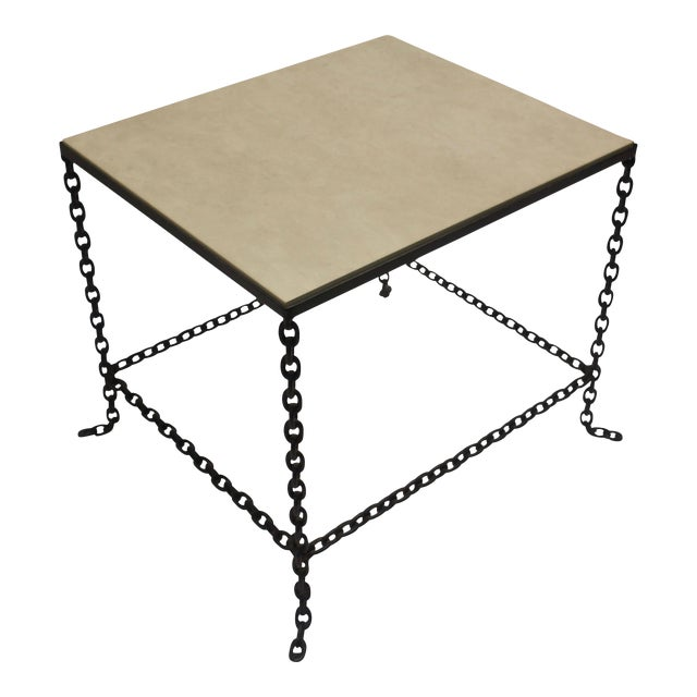Mid-Century Modern Stone Topped Chain Link Side Table For Sale