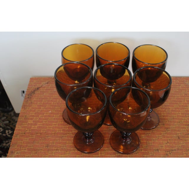 Traditional Vintage Amber Chalices - Set of 8 For Sale - Image 3 of 5