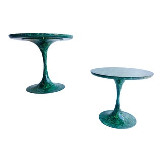Vintage Faux Malachite Tulip Tables - a Pair For Sale