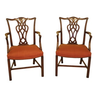 Chippendale 18th Century Style Open Arm Chairs - A Pair