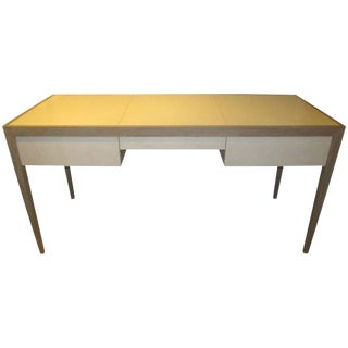Custom Cerused Oak and Parchment Desk Featuring Three Central Drawers For Sale